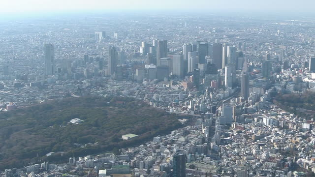 aerial, downtown tokyo, japan - shinjuku ward stock videos & royalty-free footage