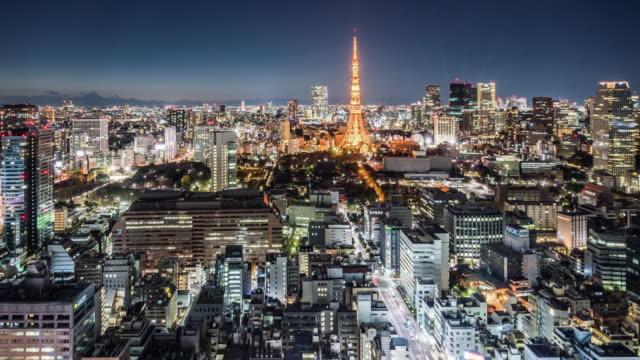 T/L WS HA PAN Downtown Tokyo Skyline at Night / Tokyo, Japan