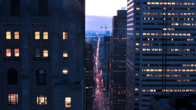 Downtown Toronto Business District Sunset Timelapse
