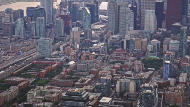 aerial downtown toronto from the east bayfront neighbourhood - toronto stock videos & royalty-free footage