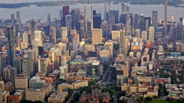 aerial downtown toronto, ontario at sunset - canada stock videos & royalty-free footage