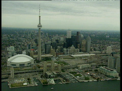 Downtown Toronto with CN tower and Sky dome stadium