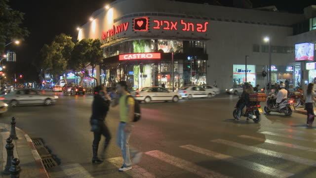 ws downtown traffic at night / tel aviv, dan metropolitan, israel - tel aviv stock videos & royalty-free footage