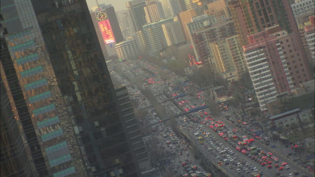 ws ha downtown traffic, beijing, china - beijing stock videos & royalty-free footage