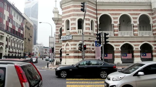 downtown traffic street walkway at malaysia kuala lumpur - kuala lumpur stock videos & royalty-free footage