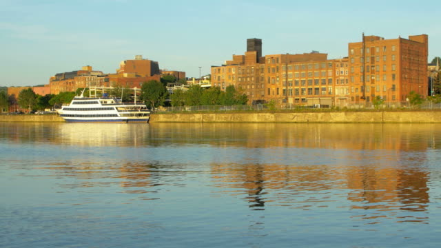 downtown troy new york along the hudson river - albany new york state stock videos & royalty-free footage