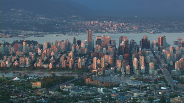 Downtown Vancouver's skyscrapers and high-rises overlook the Burrard Inlet.