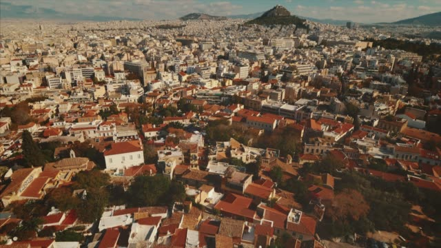 downtown view of athens, greece city skyline from above. - lycabettus hill stock videos & royalty-free footage