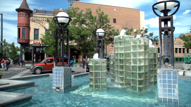 downtown water fountain - idaho stock videos & royalty-free footage