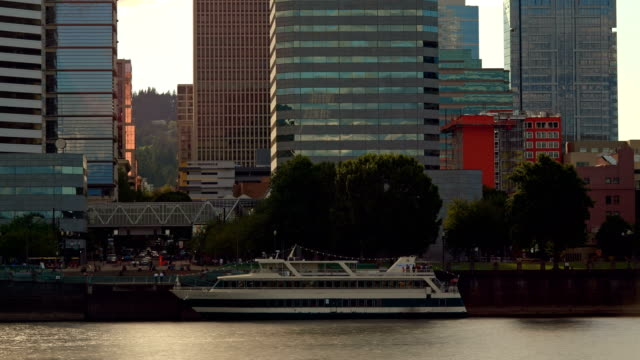 Downtown Waterfront Boat Day Portland Oregon Time Lapse