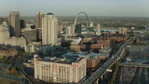 downtown west to river in st louis - st. louis missouri stock videos & royalty-free footage