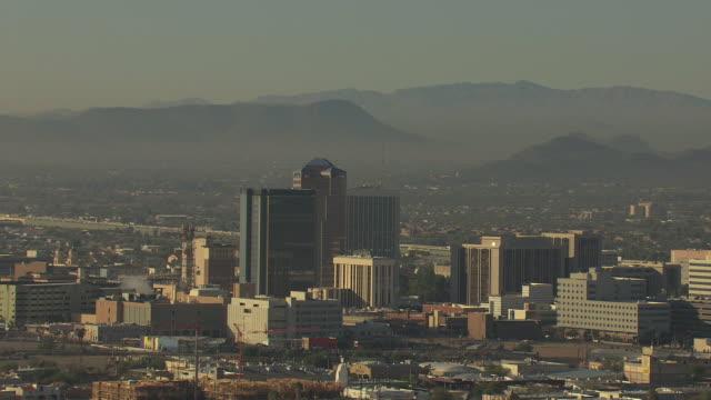 WS AERIAL ZO Downtown with mountains / Tucson, Arizona, United States