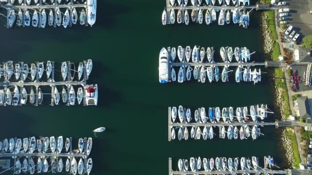 Downward Aerial Reverse Reveal: Boats at Santa Cruz Harbor