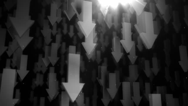下向き矢印の背景ループブラック&ホワイト(フル hd - 矢印点の映像素材/bロール