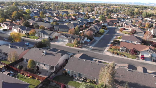downward looking view of a middle class american residential neighborhood in the salt lake city area in the fall - rocky mountains north america stock videos & royalty-free footage