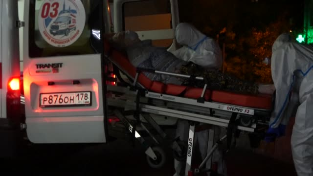 dozen ambulances are seen queuing outside a hospital treating covid-19 patients in saint petersburg on friday - dozen stock videos & royalty-free footage