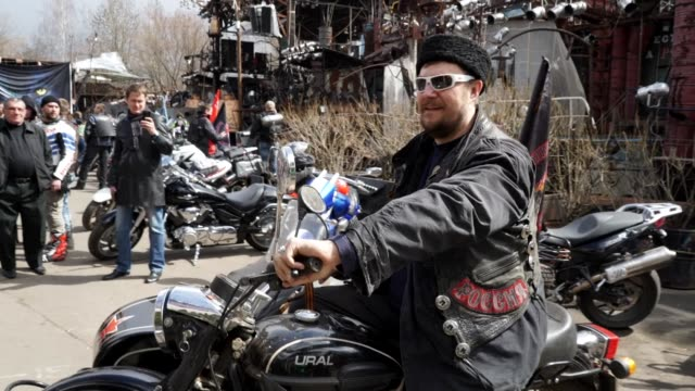 dozens of bikers from pro kremlin gang the night wolves on saturday set off on a ride to berlin ahead of the anniversary of soviet victory in world... - biker gang stock videos & royalty-free footage