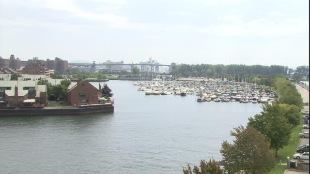 dozens of boats dock at a marina on the niagara river. - river niagara stock videos & royalty-free footage
