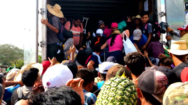 dozens of children and adults squeeze into the back of a container truck headed to an unknown location as members of the central american migrant... - national border stock videos & royalty-free footage