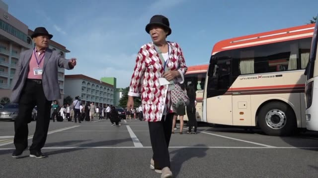 dozens of elderly and frail south koreans enter the north to meet relatives for the first time since the peninsula and their families were divided by... - peninsula stock videos and b-roll footage