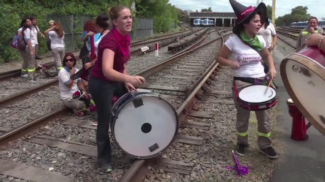 dozens of female railroad workers partially blocks the tracks at the castelar train station near buenos aires on wednesday international women's day... - equal opportunities stock videos & royalty-free footage