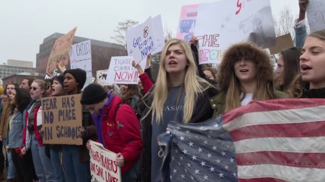 vídeos de stock, filmes e b-roll de dozens of high school students from the washington schools protest outside the white house in lafayette park following the tragic school shooting in... - marchando