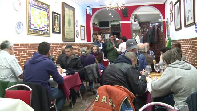 dozens of homeless people in madrid are dining for free at the robin hood restaurant which by day charges regular customers for breakfast and lunch... - robin day stock videos & royalty-free footage