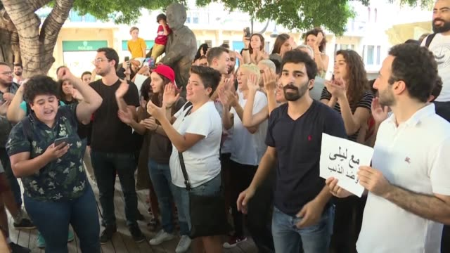Dozens of Lebanese activists rally in central Beirut in support of the Lebanese pop group Mashrou Leila whose concert has been threatened with a ban...
