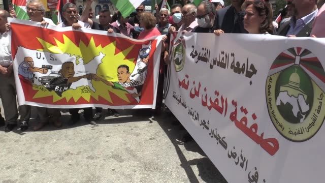 dozens of palestinians participate in a protest march in ramallah city, rejecting israel's intention to annex a large part of the occupied west bank... - us state border stock videos & royalty-free footage