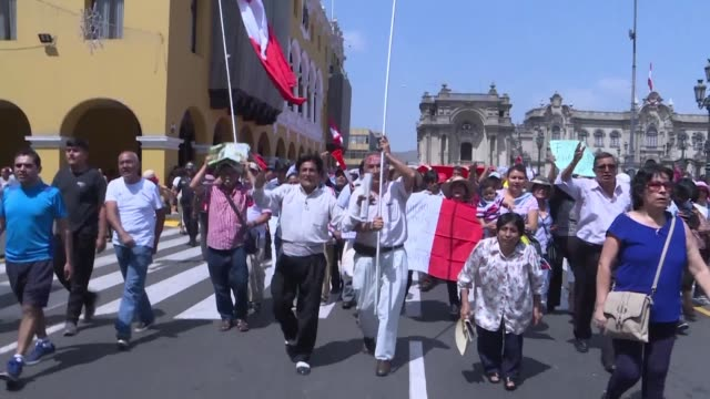 dozens of people demonstrate against corruption and attorney general pedro chavarry who dismissed then reinstated two prosecutors involved in the... - martín vizcarra stock videos & royalty-free footage