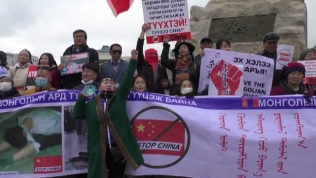 dozens of protesters demanding the release of ethnic mongolians arrested in china for criticising a controversial language policy rally in the... - independent mongolia stock videos & royalty-free footage
