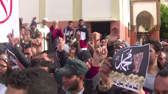 stockvideo's en b-roll-footage met dozens of radical muslims protested in the streets of sale, north of the moroccan capital rabat, against the publication of a caricature of the... - sale