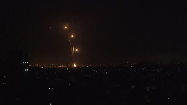 dozens of rockets are launched from gaza as israel and hamas exchange heavy fire - rocket stock videos & royalty-free footage