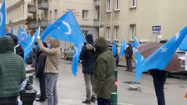 dozens of uyghur turks living in austrian capital have gathered on wednesday, feb. 10, in protest against chinese oppression on uyghurs. the crowd... - austrian culture stock videos & royalty-free footage