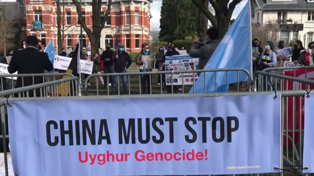 dozens of uyghur turks living in belgium capital have gathered on thursday, march 11, in protest against chinese oppression on uyghurs. the crowd... - 10 11 years stock videos & royalty-free footage