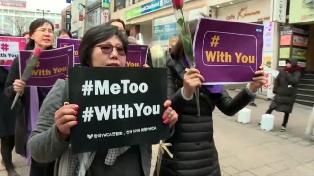 dozens of women march in downtown seoul to mark international women's day and support the metoo movement - social movement stock videos & royalty-free footage