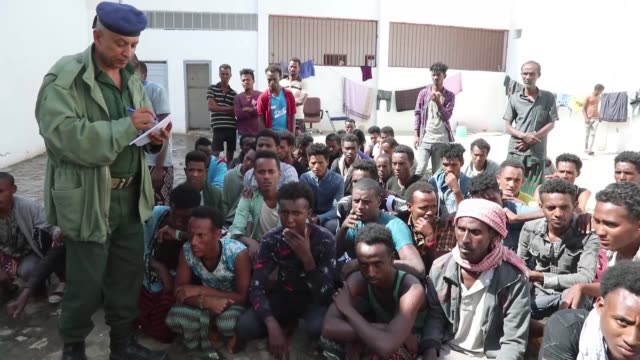dozens of would-be north african migrants held in the central prison in taiz, south of yemen, want to return to their homeland, saying that poverty... - horn of africa stock videos & royalty-free footage
