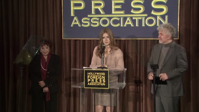 dr aida takla o'reilly amy adams and pedro almodovar at the hollywood foreign press association's cecil b demille award recipient announcement at... - cecil b. demille stock videos & royalty-free footage