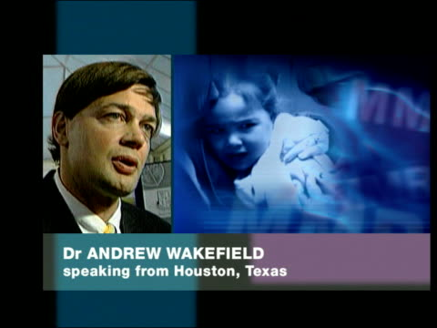 dr andrew wakefield phono interview sot we advocate vaccination this is not antivaccine in any way but saying there may be subgroup of children... - mmr stock videos and b-roll footage