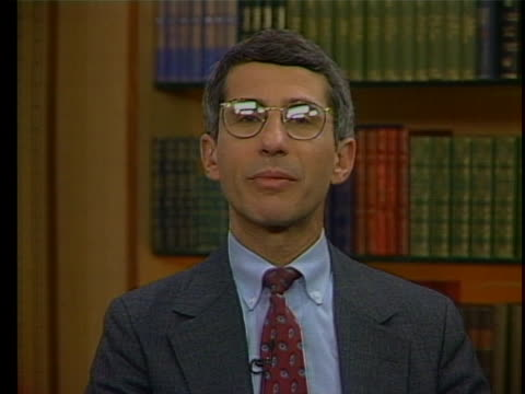 dr. anthony fauci explains how the cdc is continually monitoring aids data and making recommendations during an interview in 1993. - aids stock videos & royalty-free footage