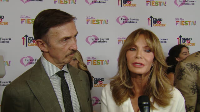 """interview dr brad allen jaclyn smith on the event at the farrah fawcett foundation's """"texmex fiesta"""" in los angeles ca - farrah fawcett stock videos and b-roll footage"""