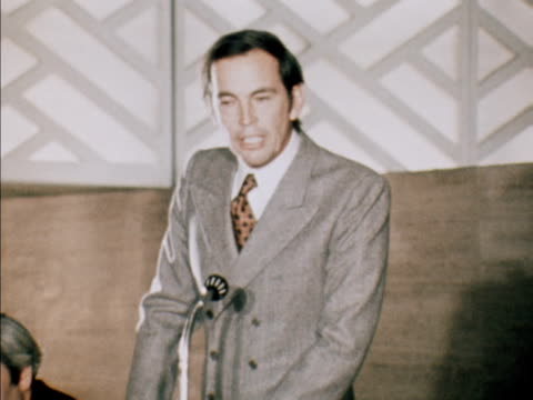 dr christiaan barnard at a press conference to promote his autobiography in london defends himself against accusations that he seeks publicity. march... - biographie stock-videos und b-roll-filmmaterial