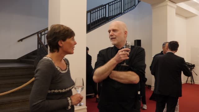 dr christiane stahl director of the alfredehrhardtstiftung and gerhard kassner photographer attend the opening event of the exhibition helmut newton... - stahl stock videos & royalty-free footage