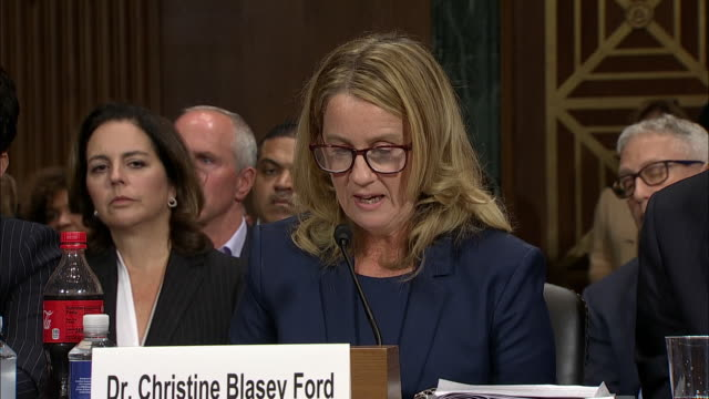 dr. christine blasey ford details what she doesnõt forget about the evening of her attack in 1982 to senator amy klobuchar. this took place during... - testimony stock videos & royalty-free footage