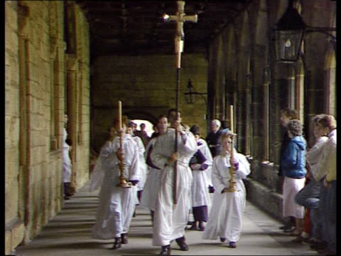 dr david jenkins the bishop of durham at centre of controversy england durham cathedral ext cms rt rev david jenkins towards pan as rl to cathedral... - イングランド ダラム点の映像素材/bロール