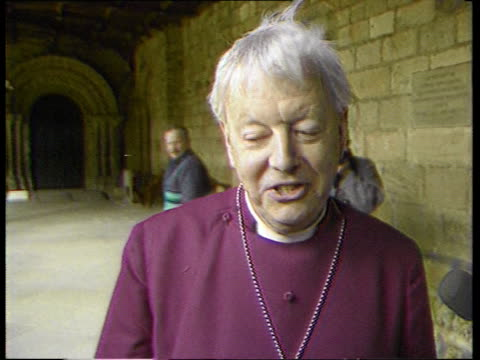 dr david jenkins the bishop of durham at centre of controversy england durham cathedral ext cms rt rev david jenkins towards pan as rl to cathedral... - durham england stock videos & royalty-free footage