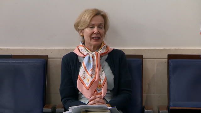 dr. deborah birx responds to a question from president donald trump on the use of sun and light in the treatment of viral infections during a task... - luce ultravioletta video stock e b–roll