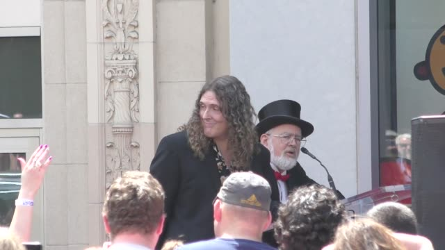vídeos de stock, filmes e b-roll de dr demento at the 'weird al' yankovic honored with a star on the hollywood walk of fame in hollywood in celebrity sightings in los angeles - weird al yankovic