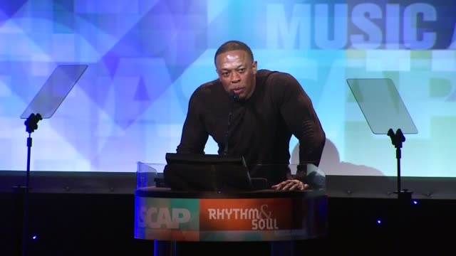Dr Dre presents award to Diddy at the 24th ASCAP Rhythm Soul Music Awards Honoring Sean 'Diddy' Combs And Mary Mary at Beverly Hills CA