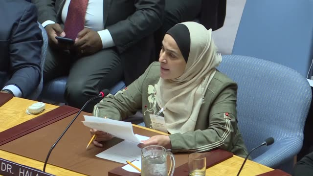 dr. hala ghawi and amina khoulani attend the united nations security council meeting on syria at united nations headquarters in new york, united... - united nations stock videos & royalty-free footage